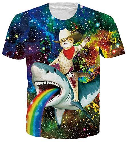 RAISEVERN Mens Womens T Shirt Lightweight 3D Captain Cat & Rainbow Shark Short Sleeve Crew Neck...