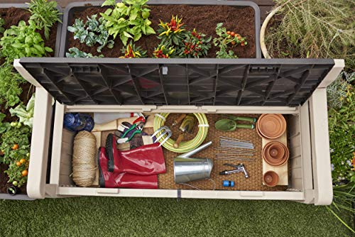 Keter Gartenbank 2-Sitzer, Truhenbank Garten Eden, Beige Gartenban mit Truhe, regenfest, 265L - 2