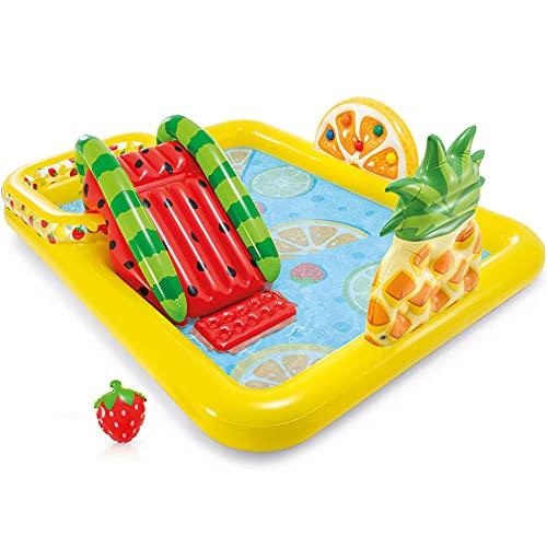 CMAO Piscina Inflable de los niños del jardín, la Piscina de Parque de la Plaza del Paradise de la Fruta, con la Diapositiva de Chorro de Agua, -8 * 6.3 * 3 pies_Amarillo