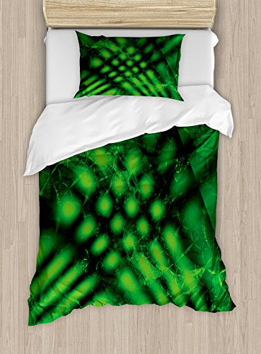 Ambesonne Lime Green Duvet Cover Set, Psychedelic Abstract Blurry Shade Formless Effects Complex Visual Design, Decorative 2 Piece Bedding Set with 1 Pillow Sham, Twin Size, Green Black