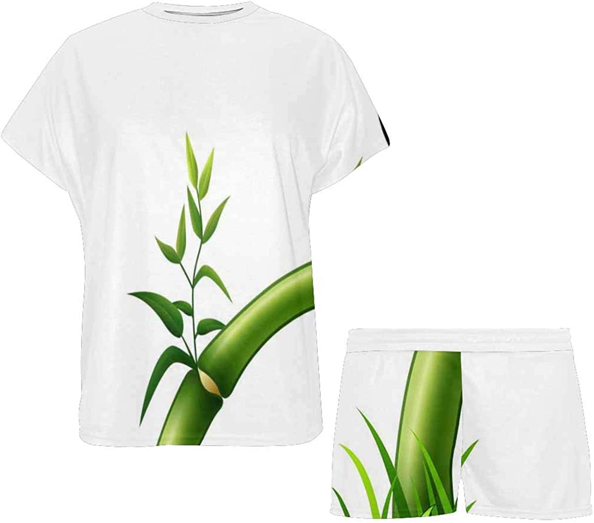INTERESTPRINT Cute Baby Panda Tree Climbing Bamboo Women's Pajamas Short Sets Round Neck Short Sleeve Sleepwear