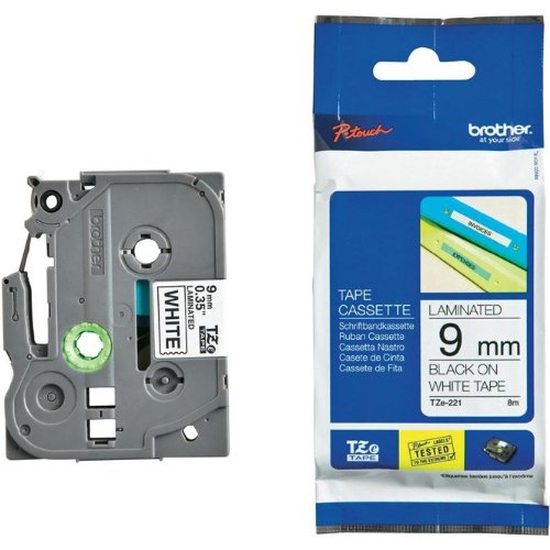 Beschriftungsband für Brother P-Touch 900, Schwarz auf Weiss, 9 mm, Schriftband-Kassette für PTouch 900, 9mm breit, 8mtr.