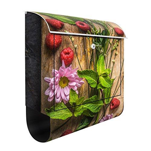 Wandbriefkasten - Blumen Himbeeren Minze - Briefkasten Bunt 46 x 39cm
