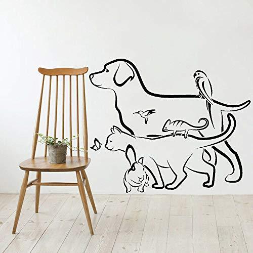 Animal veterinario tienda de mascotas perro gato conejo vinilo pared calcomanía artista decoración del hogar papel tapiz adhesivo A5 42x50cm