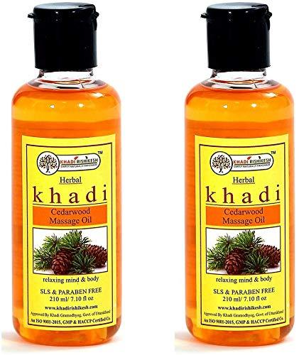 Glamorous Hub Khadi Rishikesh Aceite de masaje de madera de cedro a base de hierbas, 210 ml, paquete de 2 (el paquete puede variar)