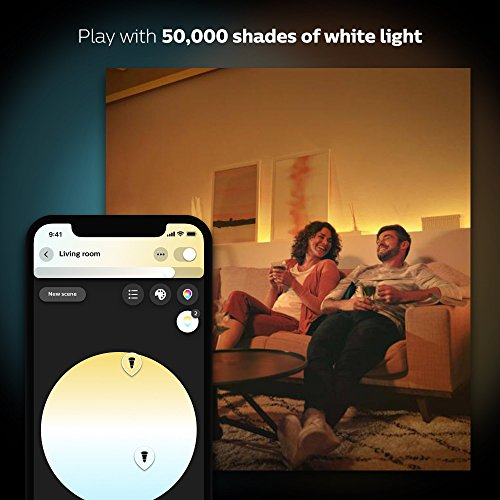 Philips Hue White and Color Ambiance A19 60W Equivalent LED Smart Bulb Starter Kit (4 A19 Bulbs and 1 Hub Compatible with Amazon Alexa Apple HomeKit and Google Assistant)