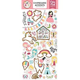 Echo Park Paper Company All Girl 6×13 Accents chipboard, pink, dark, pink, green, teal