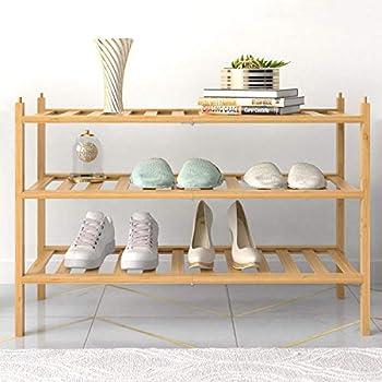 BAMFOX 3-Tier Shoe Rack,Bamboo Stackable Shoe shelf Storage Organizer For Entryway Hallway and Closet