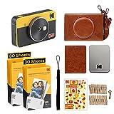 Kodak Mini Shot 2 Retro, Appareil Photo Argentique Instantané avec Imprimante Photo Portable sans Fil, Bluetooth, Compatible iOS et Android, 5,6 x 8,6 cm, Lot de 68 Feuilles - Jaune