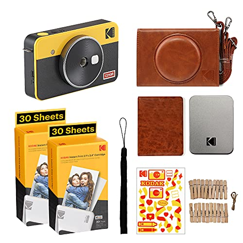 Kodak Mini Shot 2 Retro | Accessory Gift Bundle | Portable Wireless Instant Camera & Photo Printer, Compatible with iOS & Android and Bluetooth Devices, Real Photo (2.1x3.4) 4Pass Technology - Yellow
