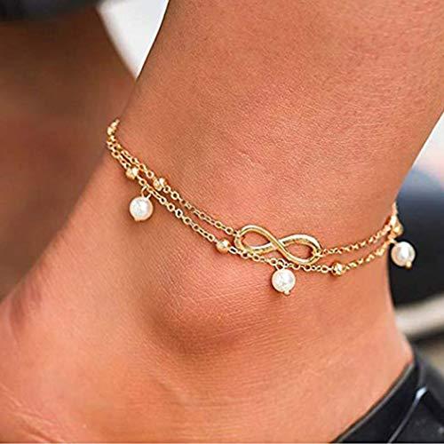 Sethain Boho Anklet Or Bracelets de cheville en perles bohémien Bijoux de pied Chaînes de pied de mode pour femmes et filles