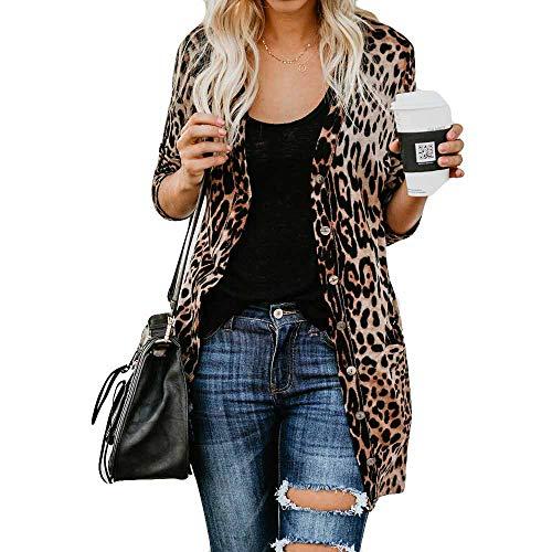 iHENGH Damen Herbst Winter Bequem Lässig Mode Frauen Langarm Leopard Print Mode Mantel Blusen T Shirt Tank Tops(3XL,Braun)