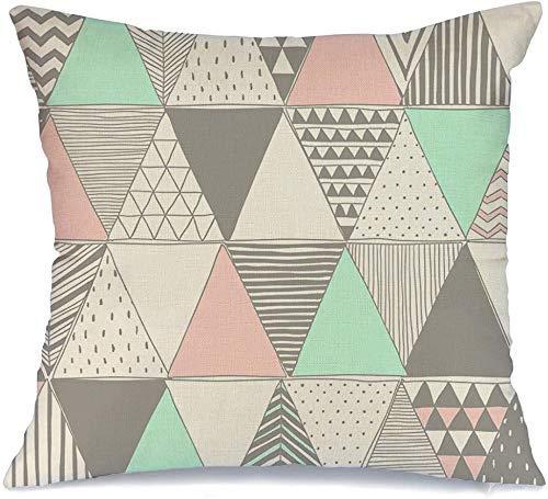 Decoración Throw Pillow Cover Funda de cojín Rosa Blanco pálido Colores pastel Triángulos Trazo geométrico Mosaico Abstracto Geometría gráfica creativa Funda de Cojine 45 X 45CM