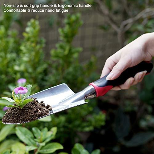 ESOW Garden Tool Set, 3 Piece Cast-Aluminum Heavy Duty Gardening Kit Includes Hand Trowel, Transplant Trowel and Cultivator Hand Rake with Soft Rubberized Non-Slip Ergonomic Handle, Garden Gifts