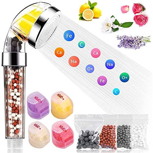 JYDT Cabezal de ducha iónico, potente filtro de ducha de mano que ahorra agua, contiene vitamina C, adecuado para agua dura y baja presión, incluye 4 bolas minerales