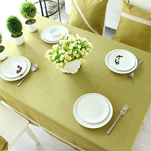 DHHY Coton et Lin Nappe Solide Couleur Rectangulaire Poussière Table Basse Tissu Maison Hôtel Décoration D 135X220cm