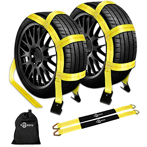 """Trekassy Wheel Net Car Tow Dolly Straps with Flat Hooks 2 Pack Heavy Duty for 14""""-17"""" Tires, 10, 000 lbs Break Strength with 2 Axle Straps and 1 Carrying Bag"""