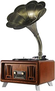 YXYH Antique Phonograph, Bluetooth Solid Wood Audio Gramophone with Brass Horn Reproduction RCA Victor Record Player (Color : B)
