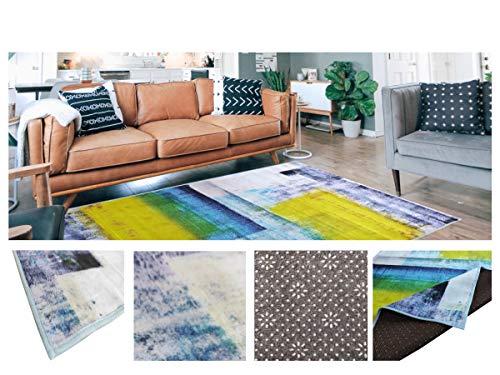 Comercial Candela Alfombra Poliéster Antideslizante Diseño Moderno Abstracto Color (Amarillo, 180_x_270_cm)