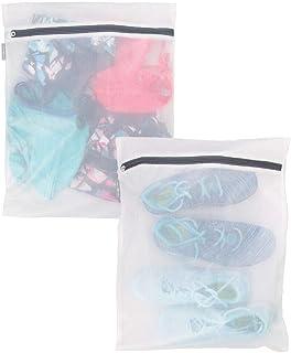 mDesign Juego de 2 bolsas para lavandería con cremallera inoxidable – Bolsas de red grandes para la lavadora – Bolsas para ropa sucia, delicada y calcetines – blanco