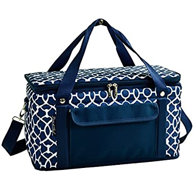 Picnic at Ascot Ultimate 24 -Quart Cooler- Combines Best Qualities of Hard & Soft Collapsible Coolers - Trellis Blue