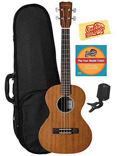 Cordoba 20TM Tenor Ukulele Bundle with Hard Case, Tuner, Austin Bazaar Instructional DVD, and Polishing Cloth