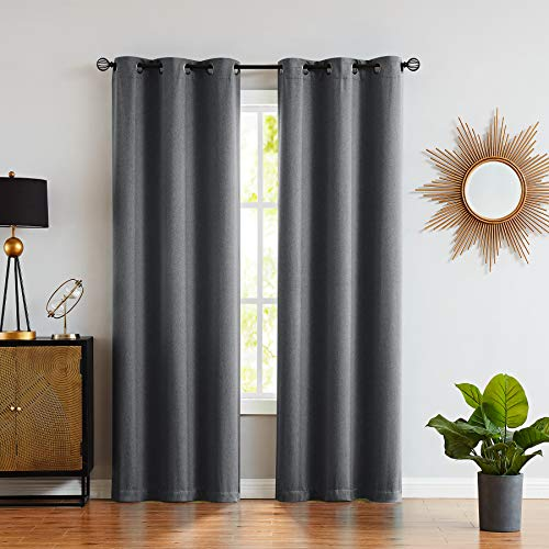 """Fmfunctex Grey Blackout Curtains for Bedroom 63"""" Modern Tonal Effect Thermal Full Blackout Curtain Draperies for Office Windows 40"""" w x 2 Panels Charcoal Gray"""