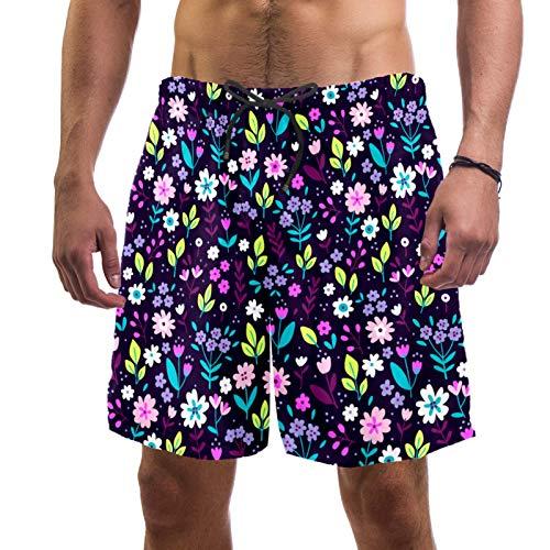ATOMO Pantalones cortos de natación para hombre con flores de color morado casual surf playa pantalones cortos de secado rápido