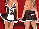 EQLEF Mujeres Sexy Lingerie Maid Traje Sexy Cosplay Delantal Uniforme