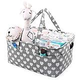 LEADSTAR Bebé Organizador de Pañales,Cesta de Almacenamiento de Pañales con Compartimentos Extraíbles,Cesto de Pañales Portátil para Recién Nacido Coche Viaje,Regalo de Registro de Bebé (Gris Heart)