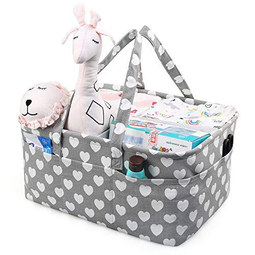 LEADSTAR Bebé Organizador de Pañales,Cesta de Almacenamiento de Pañales con Compartimentos Extraíbles,Cesto...