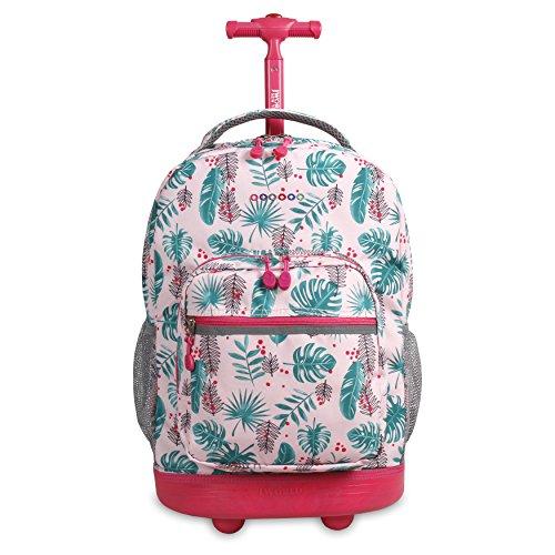 J World New York Sunrise Rolling Backpack Backpack, PALM LEAVES