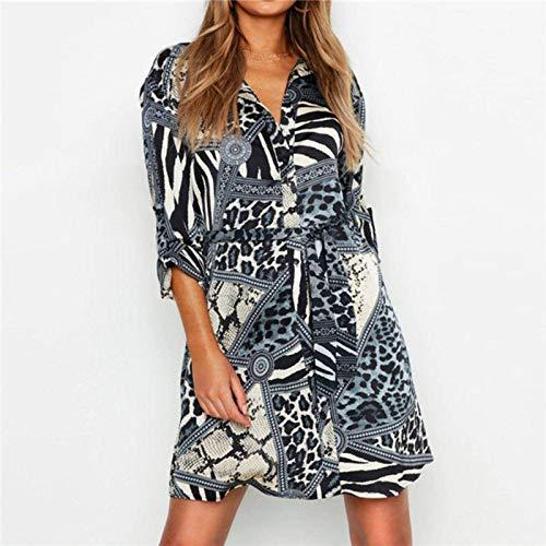 N\C Vestido de leopardo para mujer de verano, sexy, mini vestido de fiesta, casual, cuello vuelto, camisa de oficina, vestido de vendaje para señoras vestidos