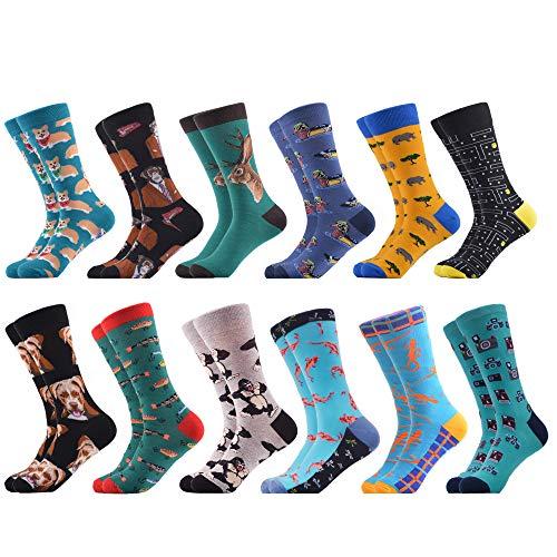 WeciBor Herrensocken mit Motiv, lange Socken aus Baumwolle, beliebte modische, bunte und lustige Designs, Mehrfarbig