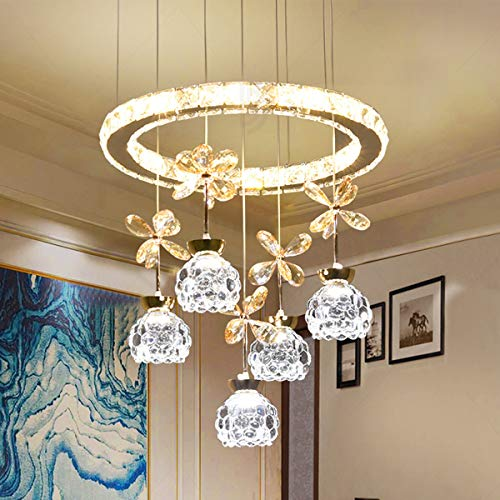 Modern Pendant Chandelier, Crystal Raindrop Lighting Ceiling Light Fixture, Amber Crystal Petals, Crystal Pineapple Beads, Ring-Shaped Crystal Pendants for Living Room Noble Stairwell,5 Light