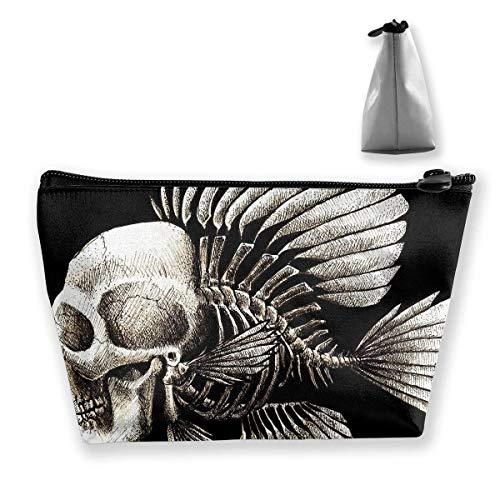 Cute Makeup Bags for Women Travel Toiletry Bag Makeup Bag Cosmetic Skull Humor Fish Portable Cosmetic Bag Mobile Trapezoidal Storage Bag Travel Bags with Zipper