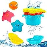 Hyselene 9 Stück Badespielzeug Baby ab 1 Jahr, Badewannenspielzeug Kinder, Spielzeug Badewanne mit 3 Typen und 7 Satten Farben, Wasserspielzeug, Spritztiere, Badespielzeug Boot