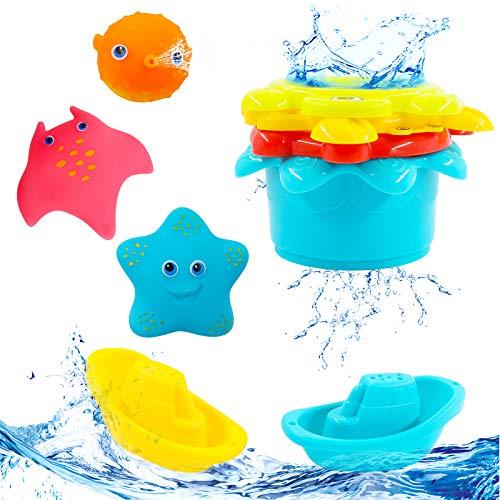 Hyselene 9 juguetes de baño para bebé a partir de 1 año, juguetes para bañera, juguetes para niños en la bañera con 3 tipos y 7 colores variados, juguetes para agua, juguetes para el baño