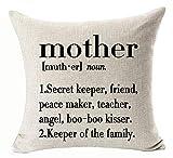 Simple Black Big Mother Significado Explicación Palabras Carta Secret Keeper Friend Peace Maker Keeper La Familia Algodón Lino Funda de Almohada Decorativa Funda de cojín Cuadrado