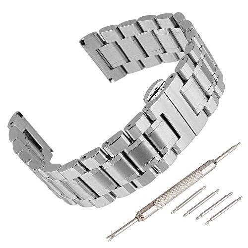 Beauty7 Cinturino Orologio 14mm 16mm 17mm 18mm 19mm 20mm 21mm 22mm 23mm 24mm Cinturini Acciaio Inossidabile Metallo Argento con Kit di Sostituzione per Uomo e Donna