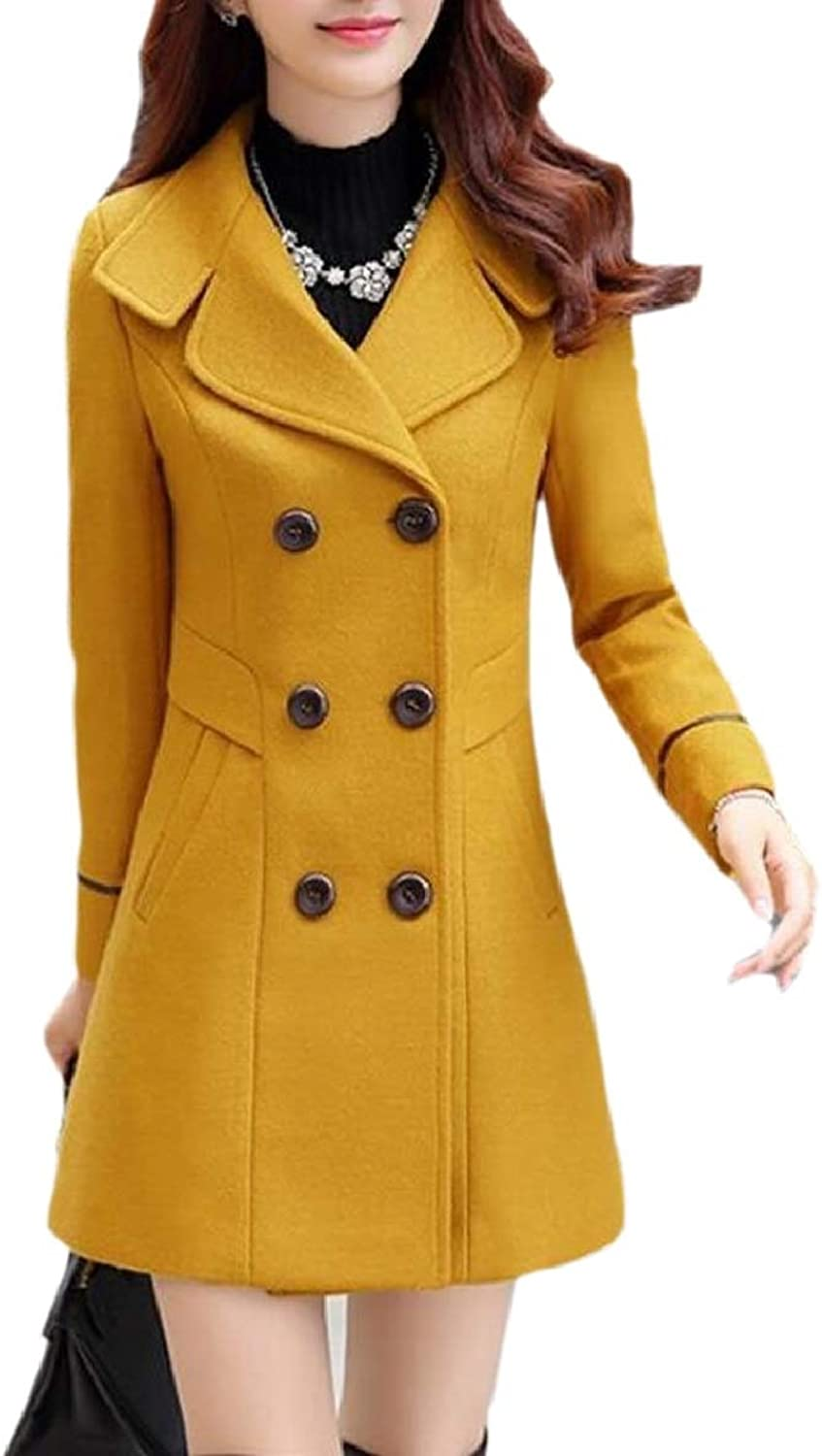 Xswsy XGCA Women's Wool Blend DoubleBreasted Winter Slim Mid Long Trench Pea Coat