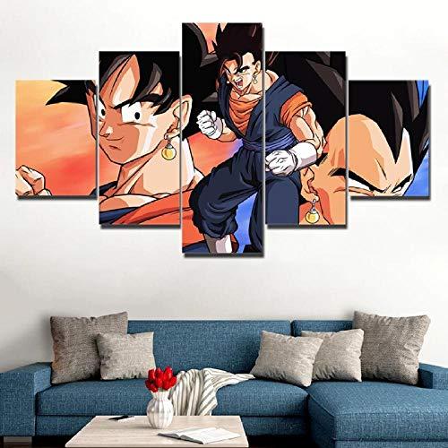 WKXZZS Cartiones de animación Bola Ball Goku Personaje Impresión de 5 Piezas Material Tejido no Tejido Impresión Artística Imagen Gráfica Decoracion de Pared Abstracto Oriente Cuadros Modernos Imagen