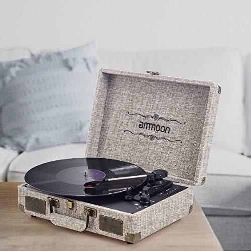 ammoon Platine Vinyle Bluetooth, Tourne Disque Retro Portable 33/45/78 TR/Min avec des Haut-parleurs...