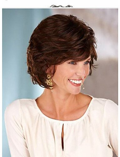 Moda Wigstyle Europa y los Estados Unidos se venden como tartas calientes marrón oscuro pelo corto y una peluca a la venta barata