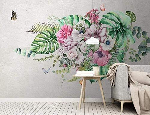 3D Wandtapete moderne Blumen und grüne Pflanzen Dekoration Wandmalerei 3D Wandfoto Wandwand 350x210cm
