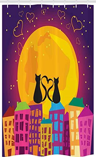 ABAKUHAUS Dier Douchegordijn, Katten op het dak van het Hart, voor Douchecabine Stoffen Badkamer Decoratie Set met Ophangringen, 120 x 180 cm, paars Oranje