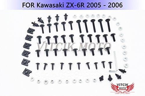 VITCIK Kit Completo de Tornillos y Pernos de Carenado para ZX6R ZX-6R Ninja 636 2005 2006 05 06 Clips de Sujeción en Aluminio CNC de La Motocicleta (Negro & Plata)