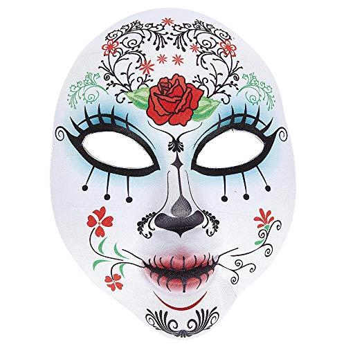 Widmann 05707 Dia de Los Muertos moitié du Visage Masque en Plastique pour Adulte Blanc
