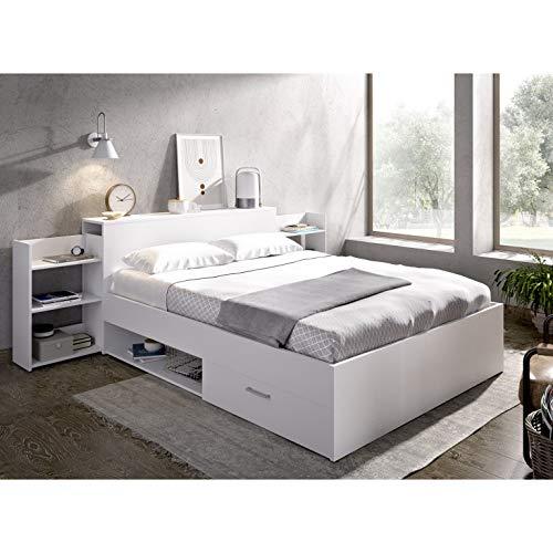 HABITMOBEL Pack Dormitorio; Cama con cajones y Huecos con Cabecero + 2 mesitas Extensibles y estantes
