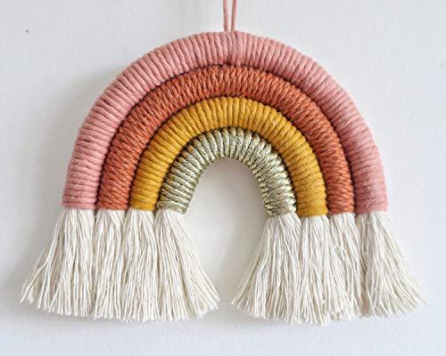 Rainbow Wall Hanging, Macrame Woven Rainbow, Rainbow Wall Decor, Baby Room Decor,, Nursery Gift (Dusty Pink,7x7x0.78in)